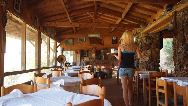 THE TAVERNA ABOVE THE WATERFALL. IMPRESSIVE ARCHITECTURE.